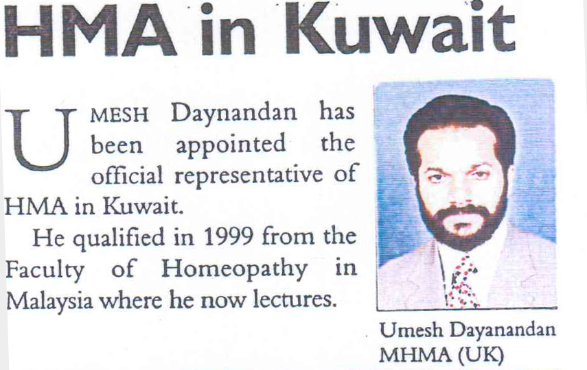 Umesh Dayanadan has been appointed the official representative of HMA in Kuwait